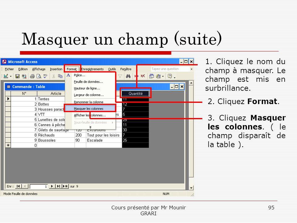 Cours présenté par Mr Mounir GRARI 95 Masquer un champ (suite) 1. Cliquez le nom du champ à masquer. Le champ est mis en surbrillance. 2. Cliquez Form
