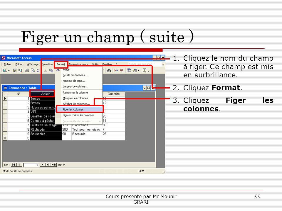 Cours présenté par Mr Mounir GRARI 99 Figer un champ ( suite ) 1.Cliquez le nom du champ à figer. Ce champ est mis en surbrillance. 2.Cliquez Format.