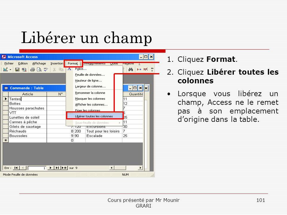 Cours présenté par Mr Mounir GRARI 101 Libérer un champ 1.Cliquez Format. 2.Cliquez Libérer toutes les colonnes Lorsque vous libérez un champ, Access