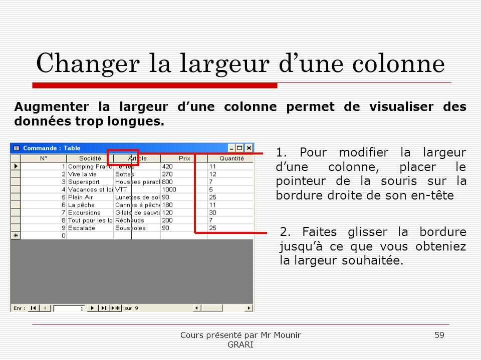 Cours présenté par Mr Mounir GRARI 59 Changer la largeur dune colonne 1. Pour modifier la largeur dune colonne, placer le pointeur de la souris sur la