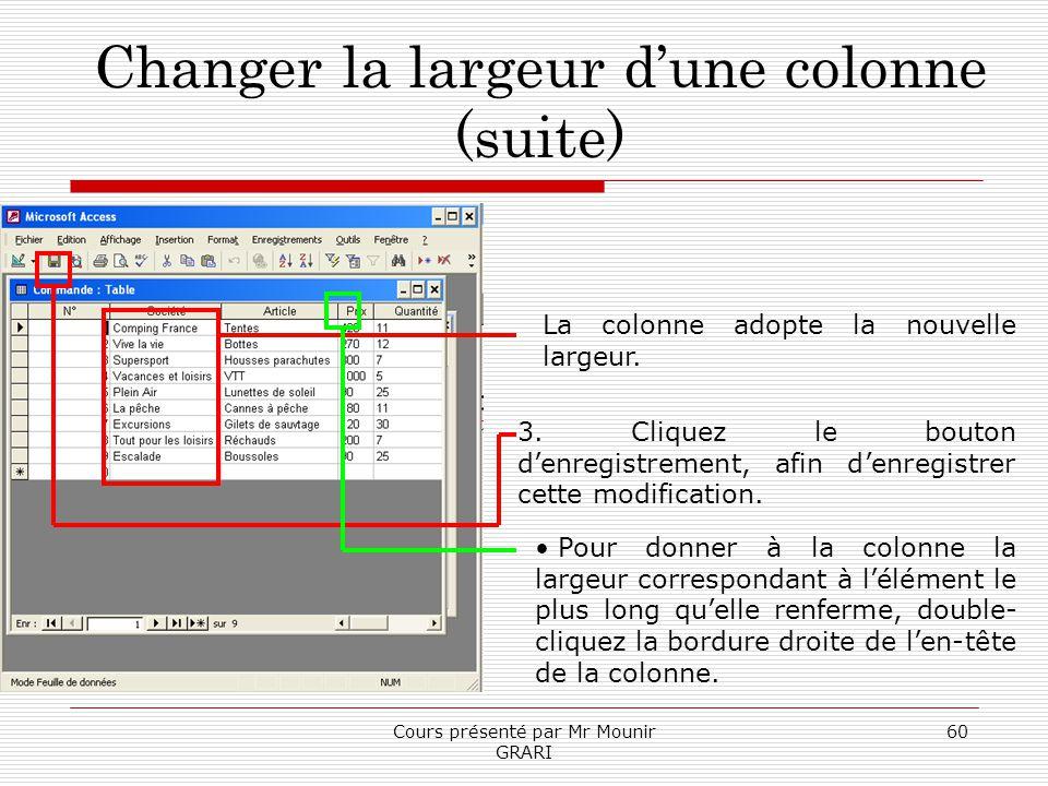 Cours présenté par Mr Mounir GRARI 60 Changer la largeur dune colonne (suite) La colonne adopte la nouvelle largeur. 3. Cliquez le bouton denregistrem