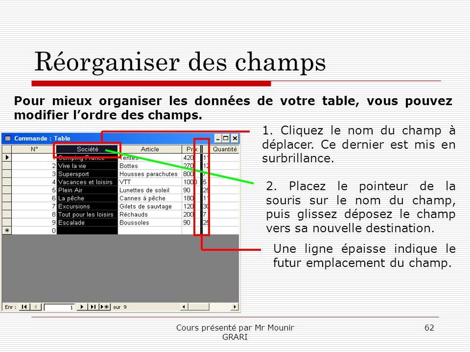 Cours présenté par Mr Mounir GRARI 62 Réorganiser des champs Pour mieux organiser les données de votre table, vous pouvez modifier lordre des champs.