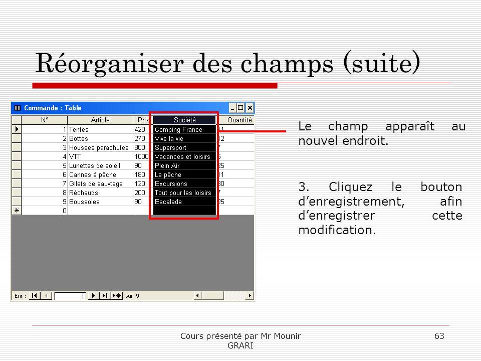 Cours présenté par Mr Mounir GRARI 63 Réorganiser des champs (suite) Le champ apparaît au nouvel endroit. 3. Cliquez le bouton denregistrement, afin d