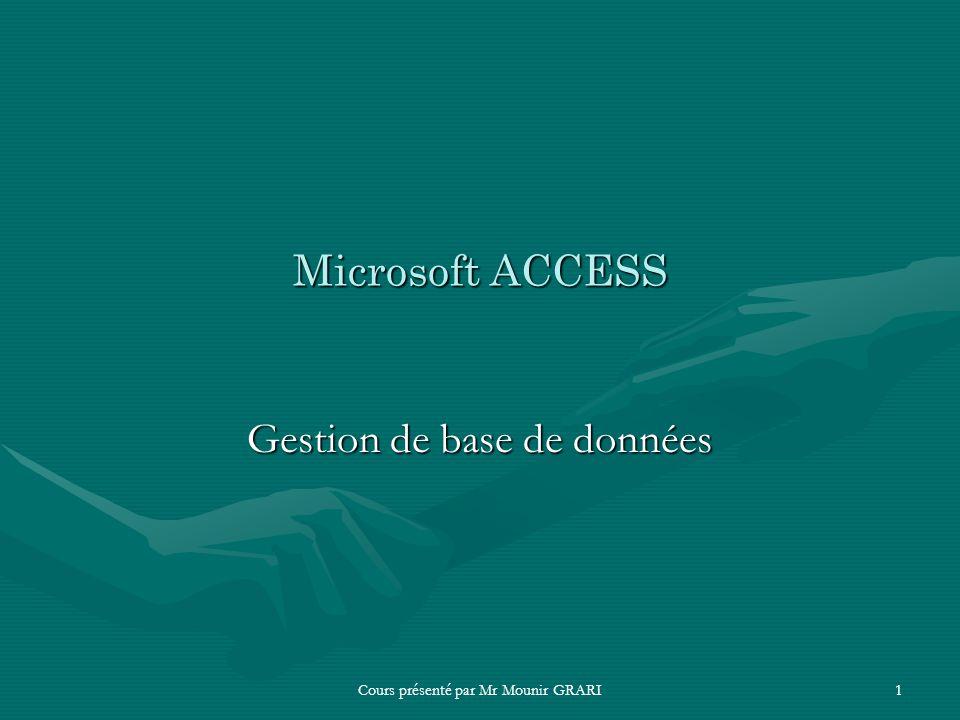 Cours présenté par Mr Mounir GRARI1 Microsoft ACCESS Gestion de base de données