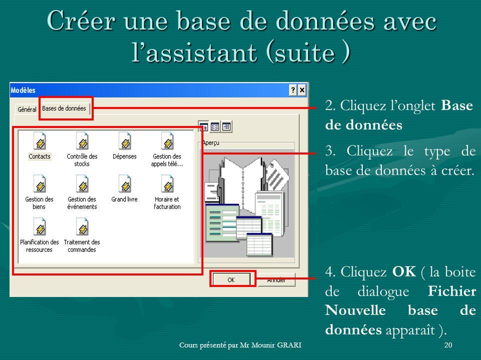 Cours présenté par Mr Mounir GRARI20 Créer une base de données avec lassistant (suite ) 2. Cliquez longlet Base de données 3. Cliquez le type de base