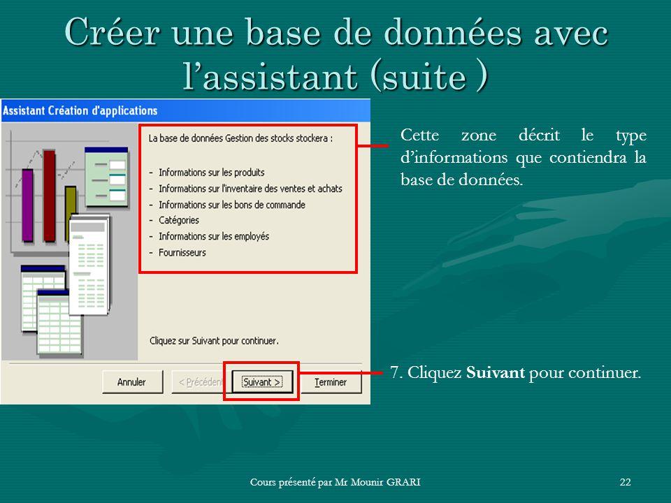 Cours présenté par Mr Mounir GRARI22 Créer une base de données avec lassistant (suite ) Cette zone décrit le type dinformations que contiendra la base