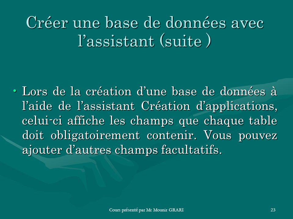 Cours présenté par Mr Mounir GRARI23 Créer une base de données avec lassistant (suite ) Lors de la création dune base de données à laide de lassistant