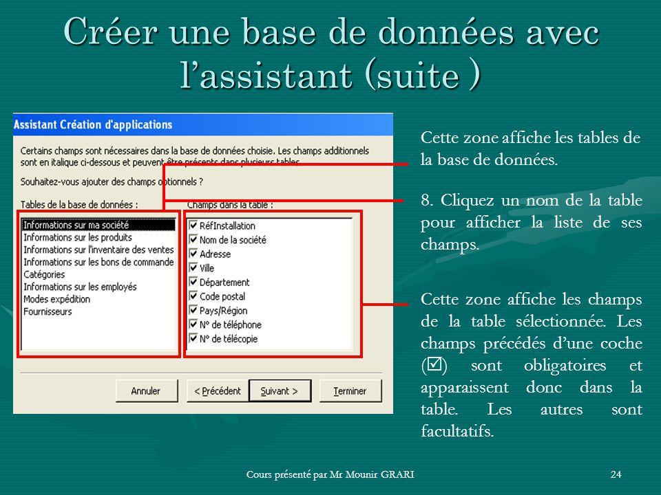 Cours présenté par Mr Mounir GRARI24 Créer une base de données avec lassistant (suite ) Cette zone affiche les tables de la base de données. 8. Clique