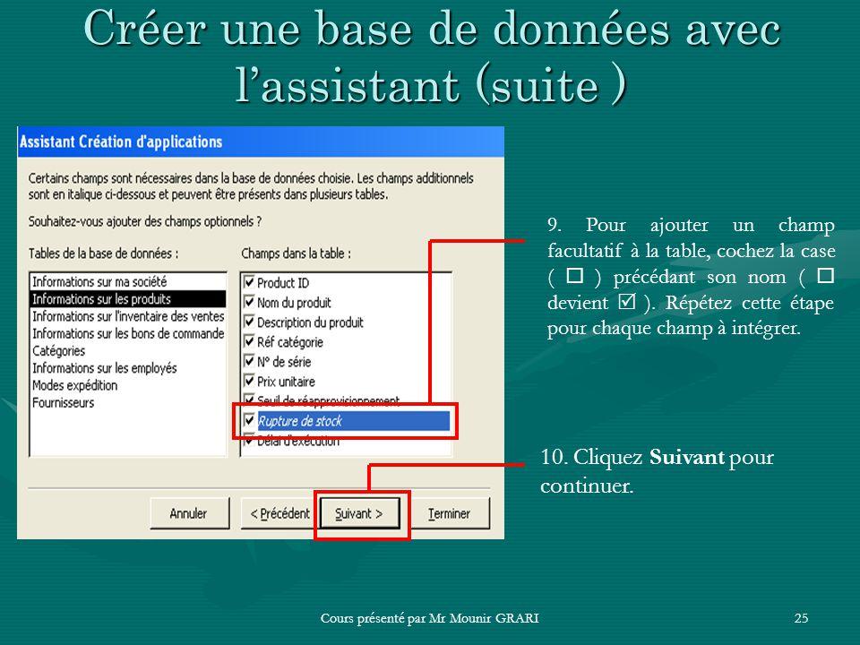 Cours présenté par Mr Mounir GRARI25 Créer une base de données avec lassistant (suite ) 9. Pour ajouter un champ facultatif à la table, cochez la case