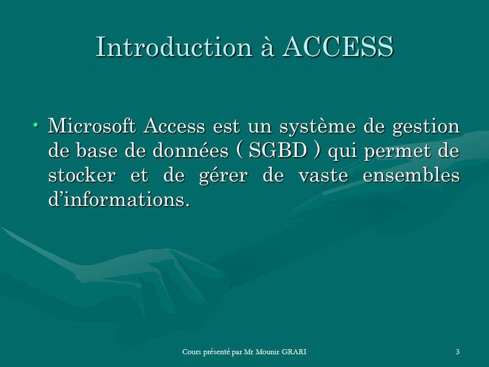 Cours présenté par Mr Mounir GRARI3 Introduction à ACCESS Microsoft Access est un système de gestion de base de données ( SGBD ) qui permet de stocker