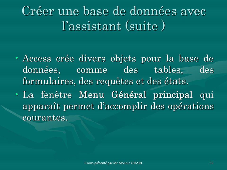 Cours présenté par Mr Mounir GRARI30 Créer une base de données avec lassistant (suite ) Access crée divers objets pour la base de données, comme des t