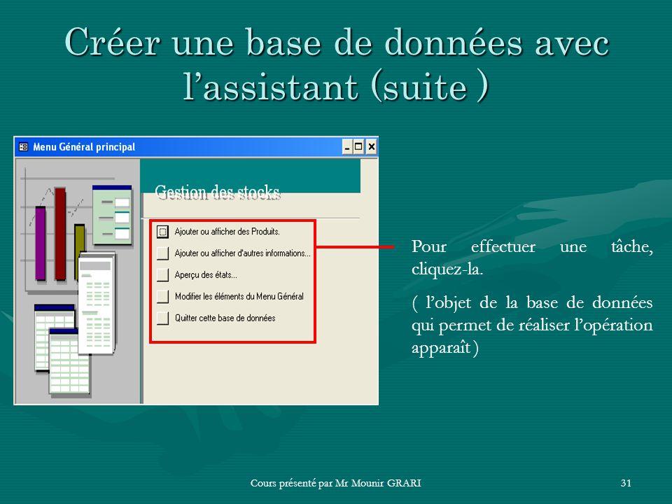Cours présenté par Mr Mounir GRARI31 Créer une base de données avec lassistant (suite ) Pour effectuer une tâche, cliquez-la. ( lobjet de la base de d