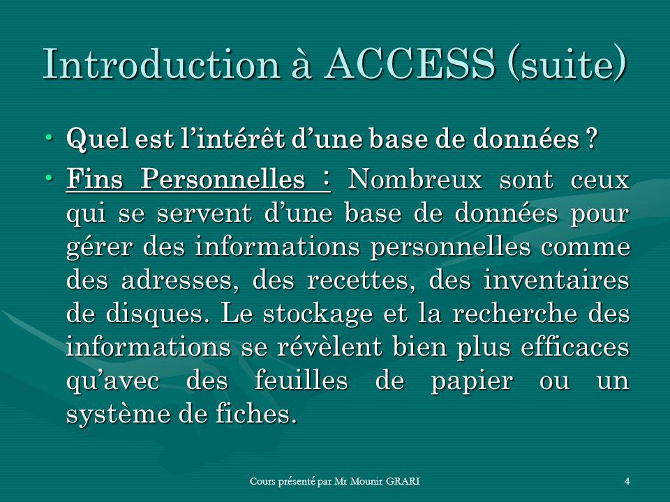 Cours présenté par Mr Mounir GRARI4 Introduction à ACCESS (suite) Quel est lintérêt dune base de données ?Quel est lintérêt dune base de données ? Fin