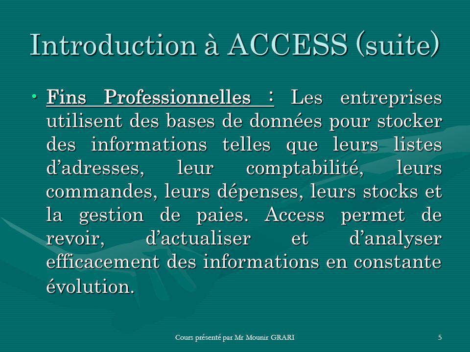Cours présenté par Mr Mounir GRARI5 Introduction à ACCESS (suite) Fins Professionnelles : Les entreprises utilisent des bases de données pour stocker