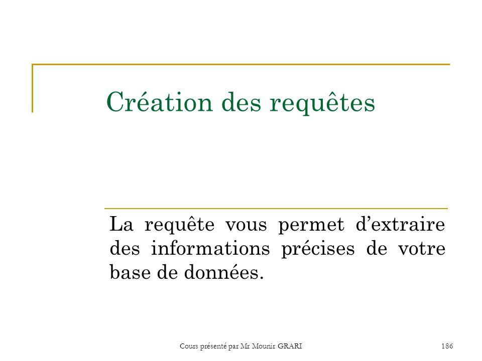 Cours présenté par Mr Mounir GRARI 187 Bâtir une requête en mode création 1.Cliquez Requêtes dans la fenêtre Base de données.