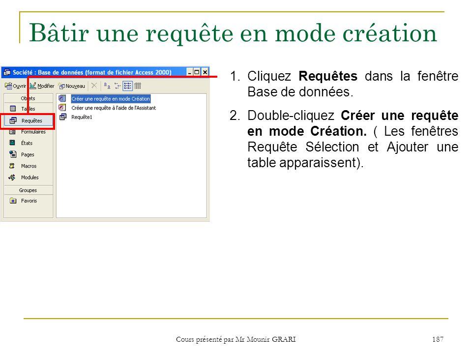 Cours présenté par Mr Mounir GRARI 188 Bâtir une requête en mode création (suite) Cette zone donne la liste de toutes les tables de la base de données.