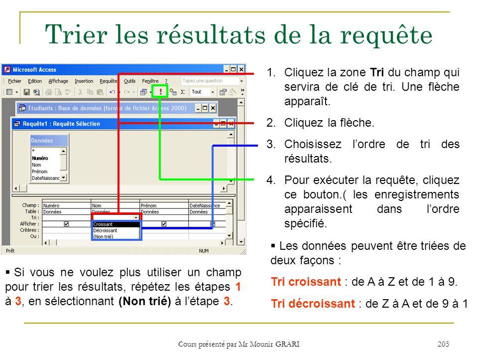 Cours présenté par Mr Mounir GRARI 206 Définir des critères 1.Cliquez la zone Critères du champ à utiliser pour trouver des enregistrements spécifiques.