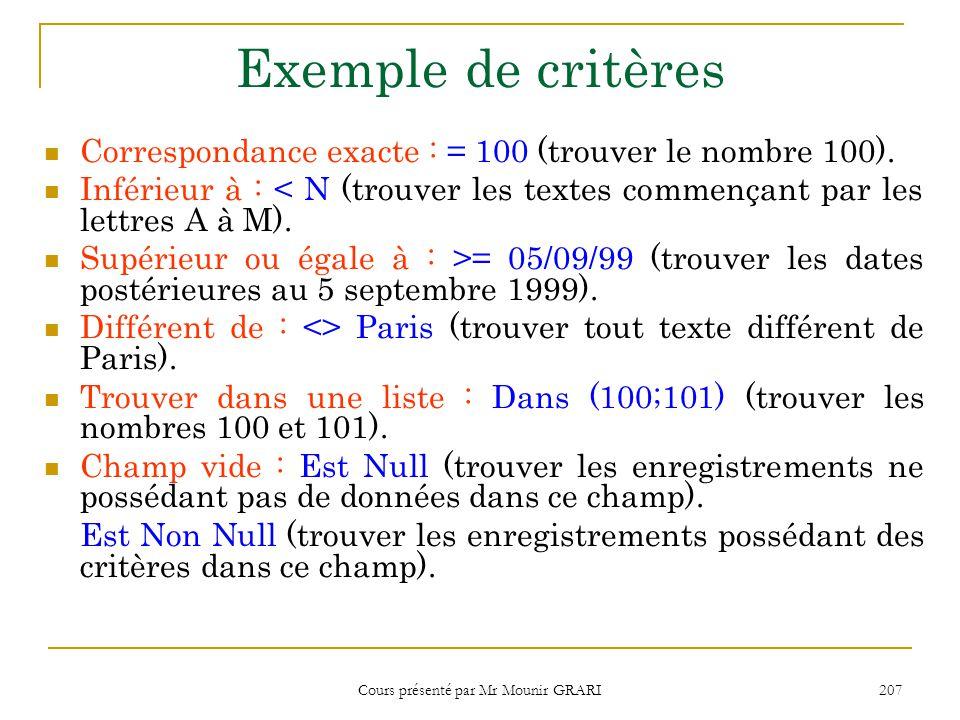 Cours présenté par Mr Mounir GRARI 208 Exemple de critères (suite) Entre …Et… : Entre A Et D (trouver les lettres D et les textes commençant par par A, B ou C.