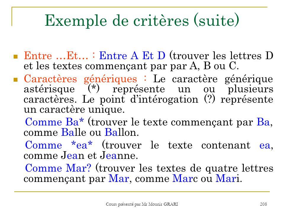 Cours présenté par Mr Mounir GRARI 209 Afficher les valeurs supérieures ou inférieures 1.Cliquez la zone Tri du champ dont vous souhaitez afficher les valeurs supérieures ou inférieures.