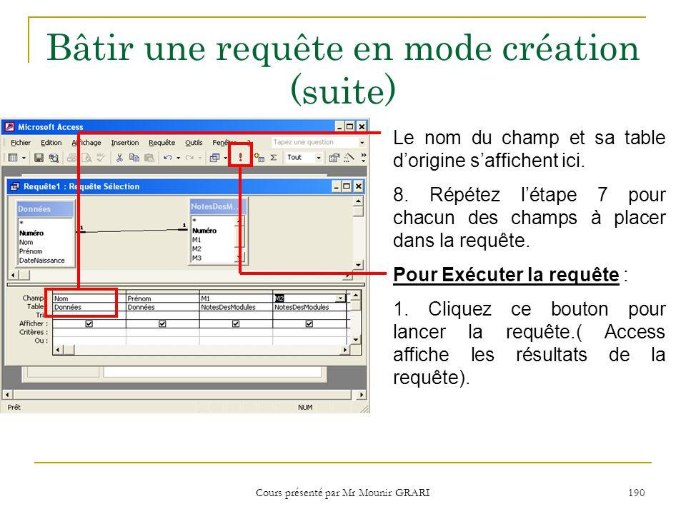 Cours présenté par Mr Mounir GRARI 191 Bâtir une requête en mode création (suite) Les noms des champs appartenant à la requête se trouve ici.