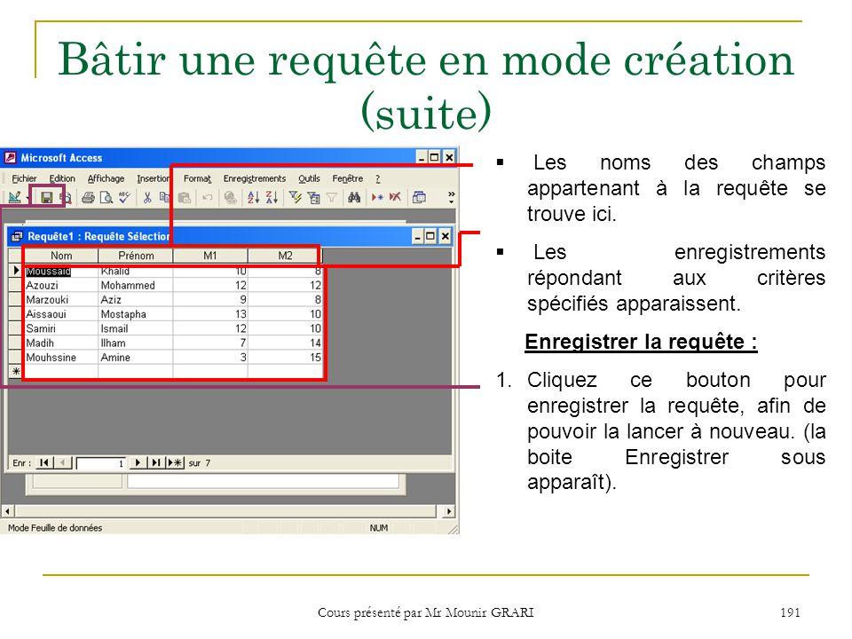 Cours présenté par Mr Mounir GRARI 192 Bâtir une requête en mode création (suite) 2.