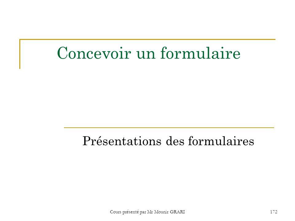 Cours présenté par Mr Mounir GRARI172 Concevoir un formulaire Présentations des formulaires