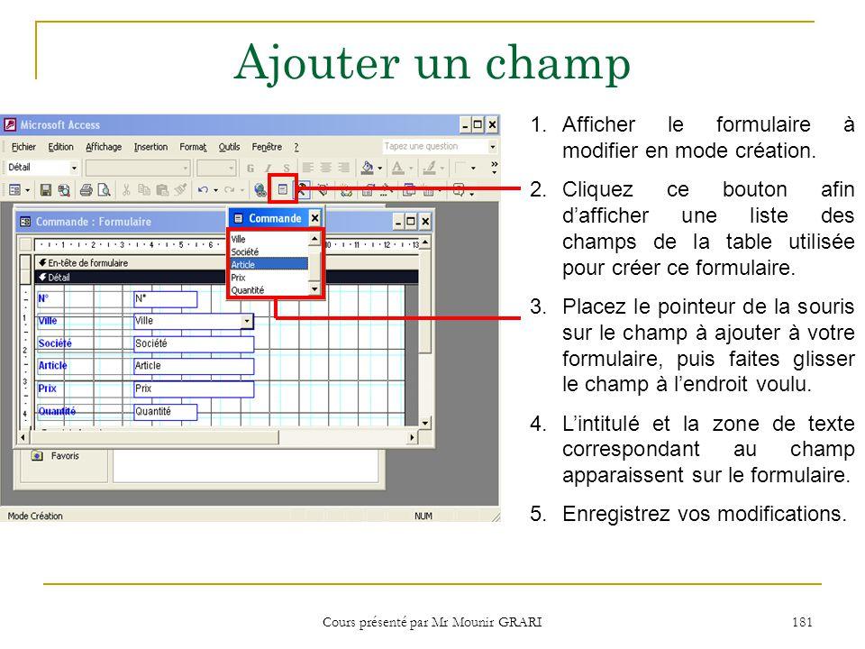 Cours présenté par Mr Mounir GRARI 181 Ajouter un champ 1.Afficher le formulaire à modifier en mode création.