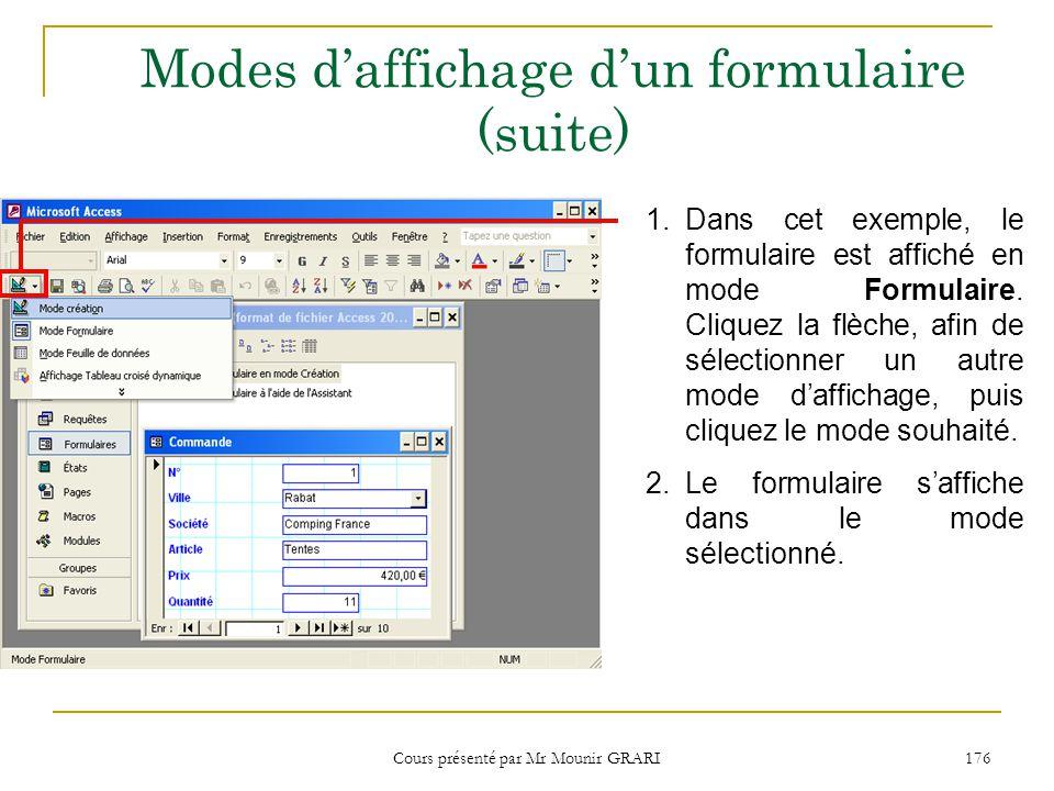 Cours présenté par Mr Mounir GRARI 176 Modes daffichage dun formulaire (suite) 1.Dans cet exemple, le formulaire est affiché en mode Formulaire.