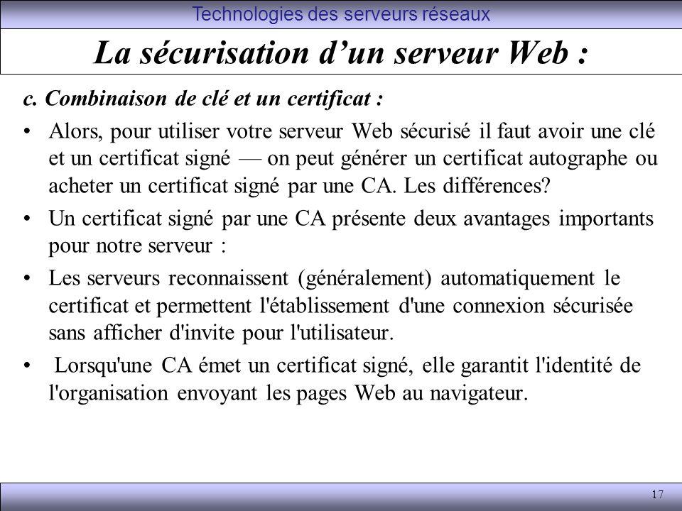 17 La sécurisation dun serveur Web : c.