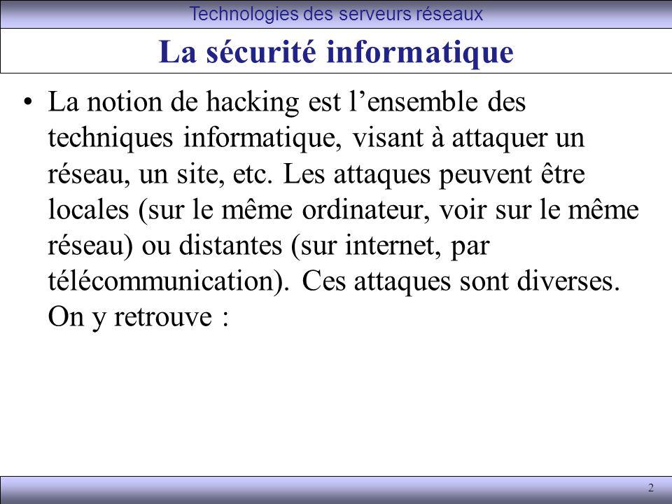 2 La sécurité informatique La notion de hacking est lensemble des techniques informatique, visant à attaquer un réseau, un site, etc.