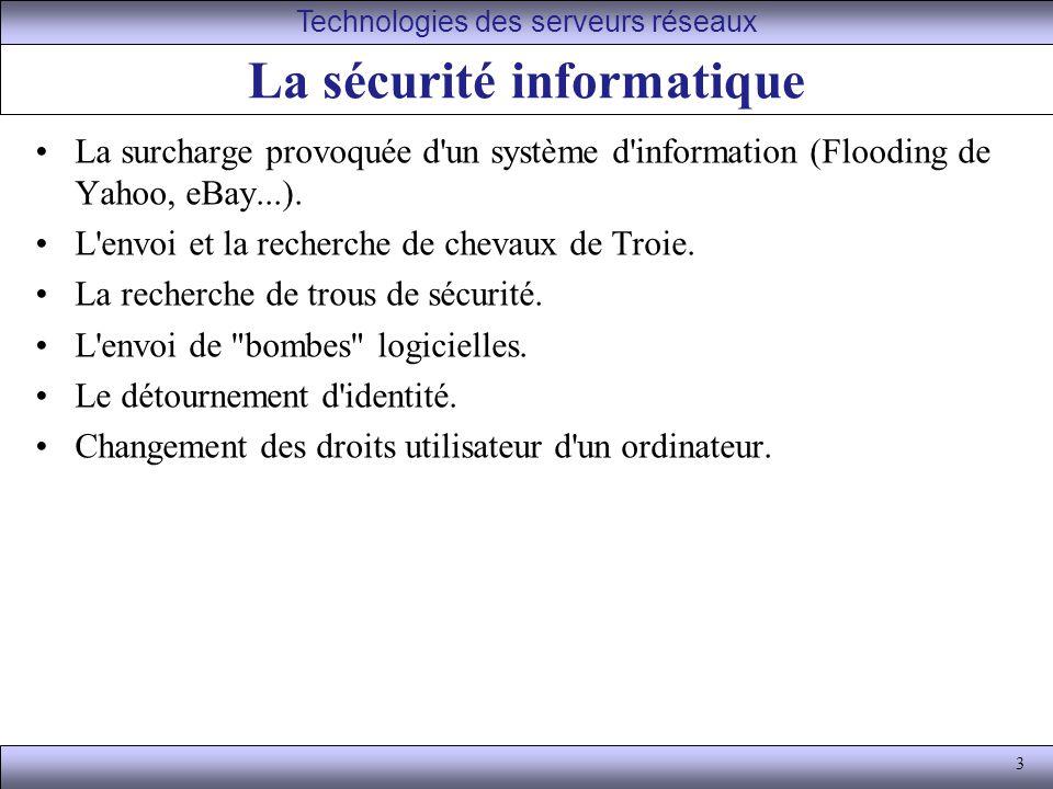 3 La sécurité informatique La surcharge provoquée d un système d information (Flooding de Yahoo, eBay...).