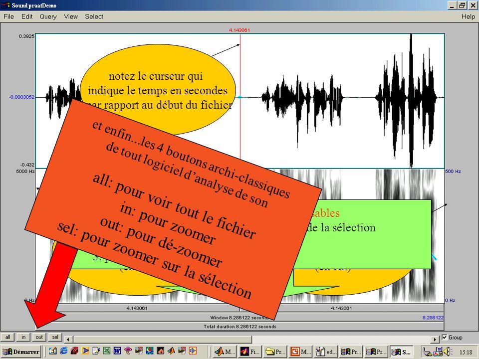 notez le curseur qui indique le temps en secondes par rapport au début du fichier Laxe à droite indique les valeurs de Fo (en Hz) Laxe à gauche corres
