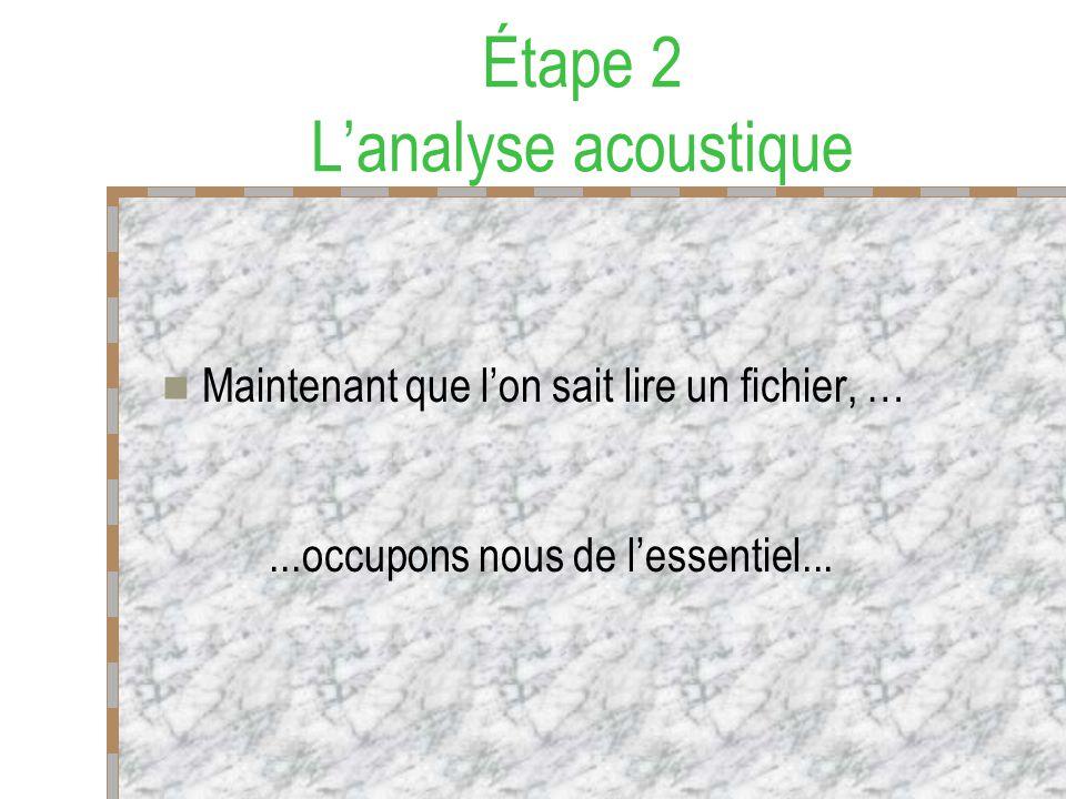 Étape 2 Lanalyse acoustique Maintenant que lon sait lire un fichier, …...occupons nous de lessentiel...