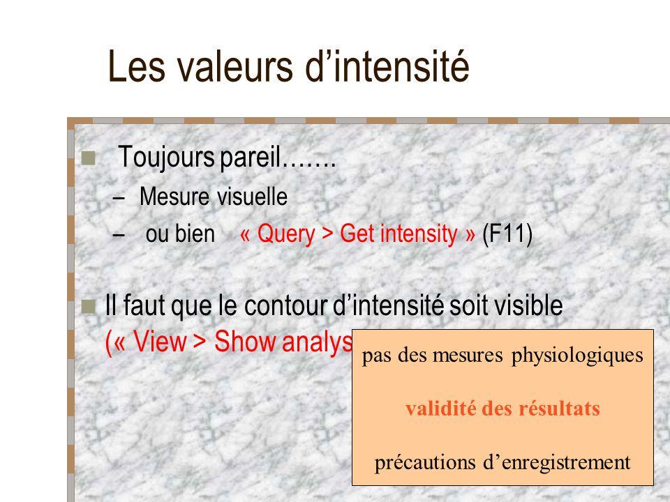 Les valeurs dintensité Toujours pareil……. – Mesure visuelle – ou bien « Query > Get intensity » (F11) Il faut que le contour dintensité soit visible (