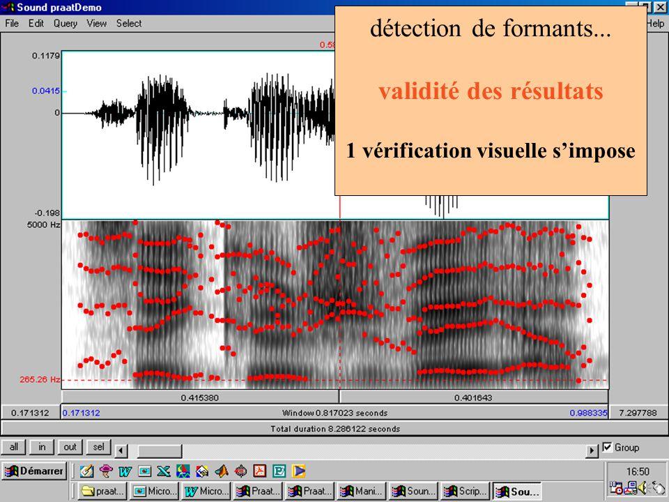 détection de formants... validité des résultats 1 vérification visuelle simpose