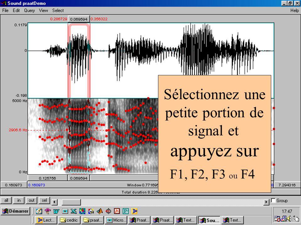 Sélectionnez une petite portion de signal et appuyez sur F1, F2, F3 ou F4