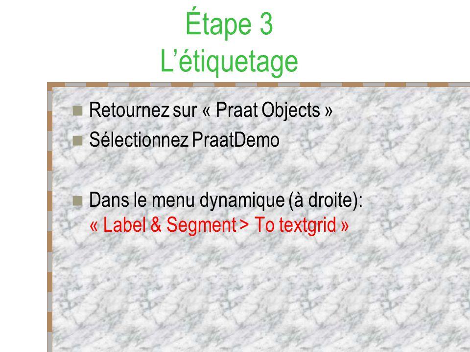 Retournez sur « Praat Objects » Sélectionnez PraatDemo Dans le menu dynamique (à droite): « Label & Segment > To textgrid » Étape 3 Létiquetage
