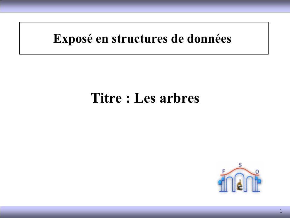 1 Exposé en structures de données Titre : Les arbres