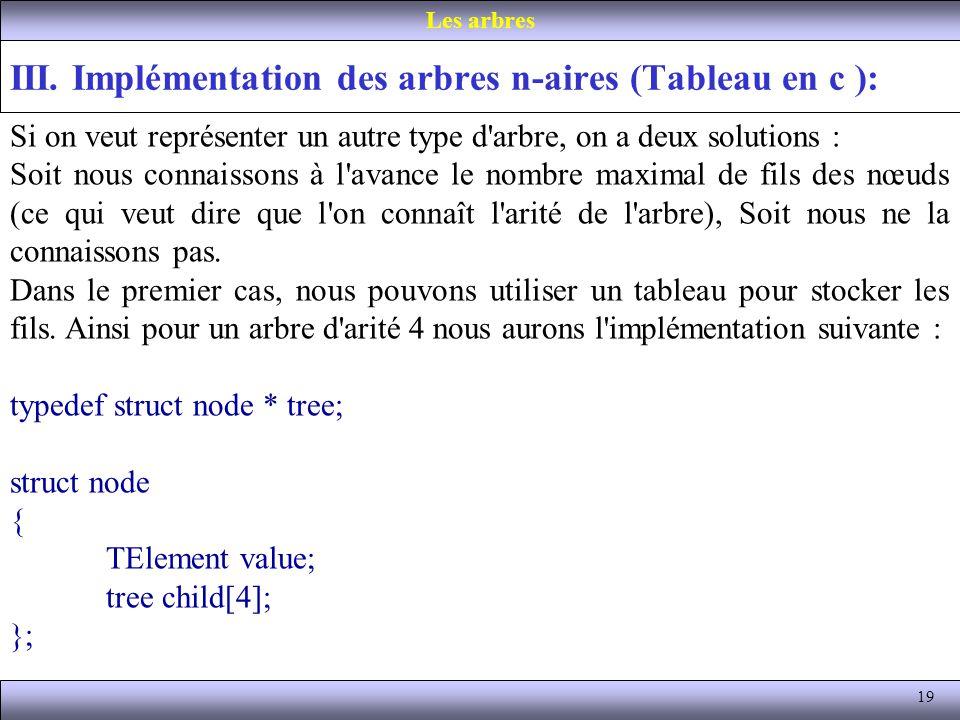 19 III. Implémentation des arbres n-aires (Tableau en c ): Les arbres Si on veut représenter un autre type d'arbre, on a deux solutions : Soit nous co