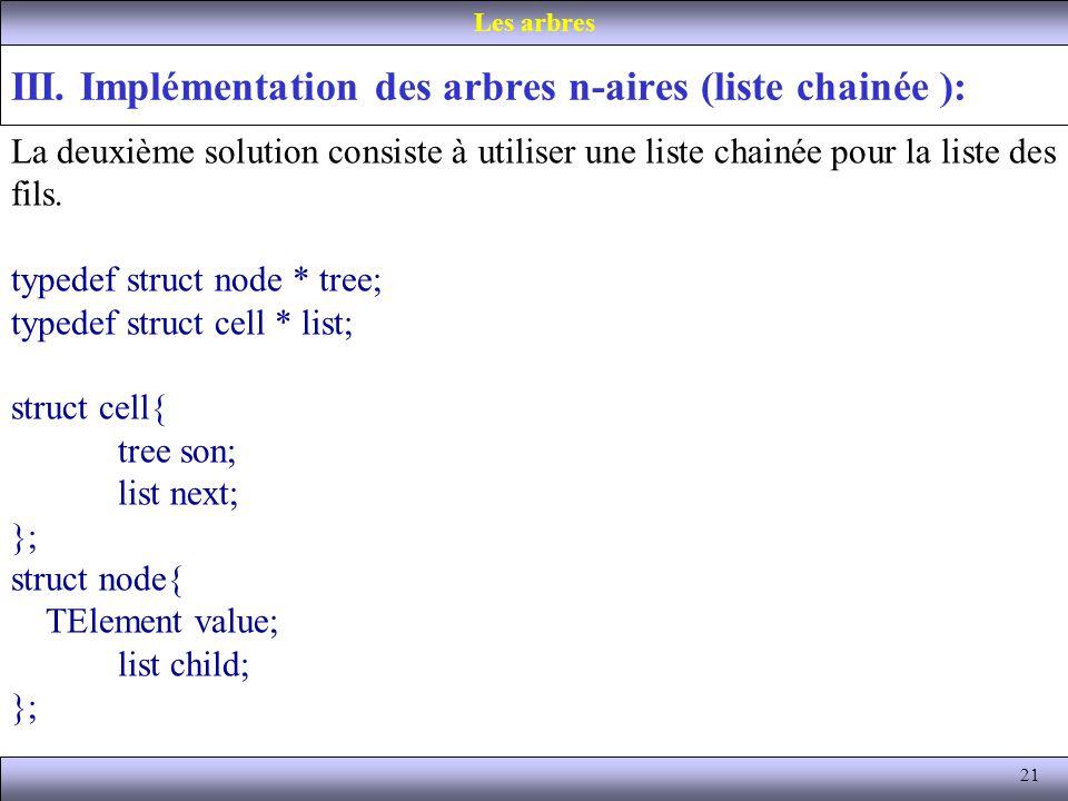 21 III. Implémentation des arbres n-aires (liste chainée ): Les arbres La deuxième solution consiste à utiliser une liste chainée pour la liste des fi