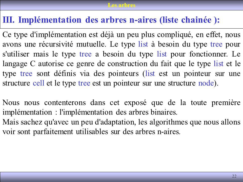 22 III. Implémentation des arbres n-aires (liste chainée ): Les arbres Ce type d'implémentation est déjà un peu plus compliqué, en effet, nous avons u