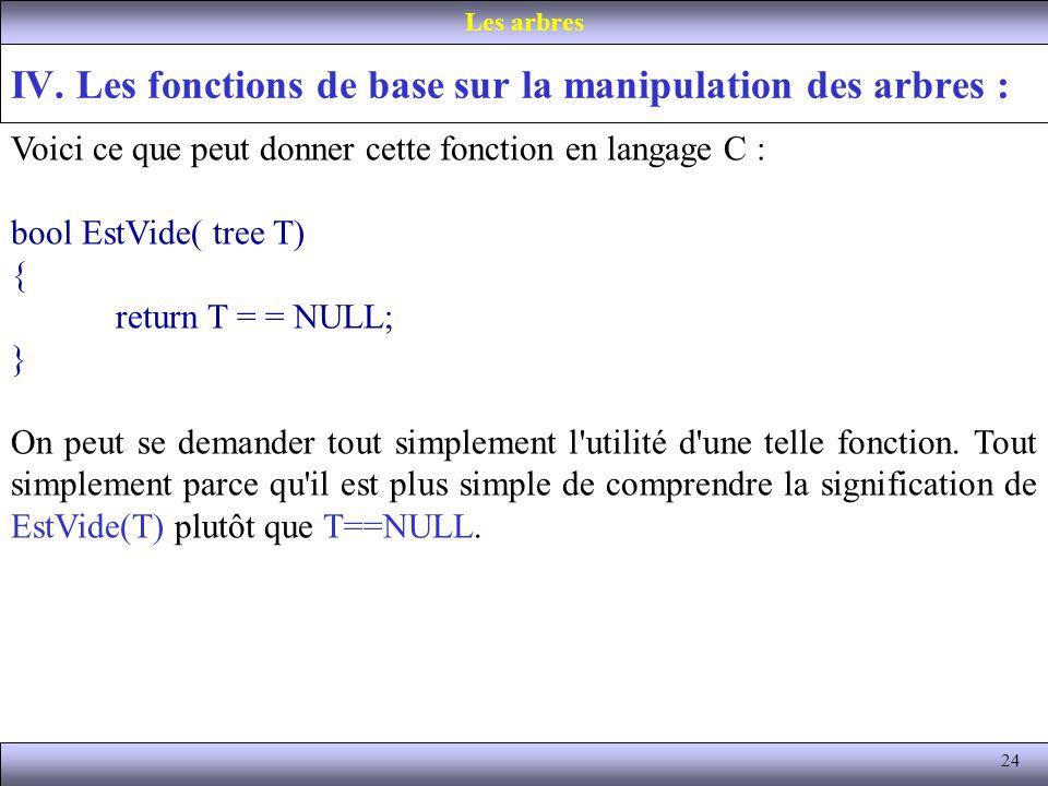 24 IV. Les fonctions de base sur la manipulation des arbres : Les arbres Voici ce que peut donner cette fonction en langage C : bool EstVide( tree T)