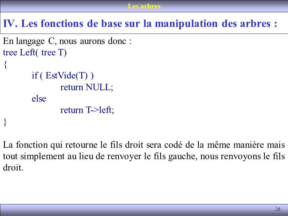 26 IV. Les fonctions de base sur la manipulation des arbres : Les arbres En langage C, nous aurons donc : tree Left( tree T) { if ( EstVide(T) ) retur