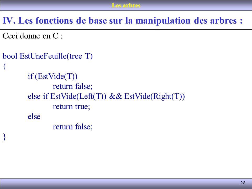 28 IV. Les fonctions de base sur la manipulation des arbres : Les arbres Ceci donne en C : bool EstUneFeuille(tree T) { if (EstVide(T)) return false;