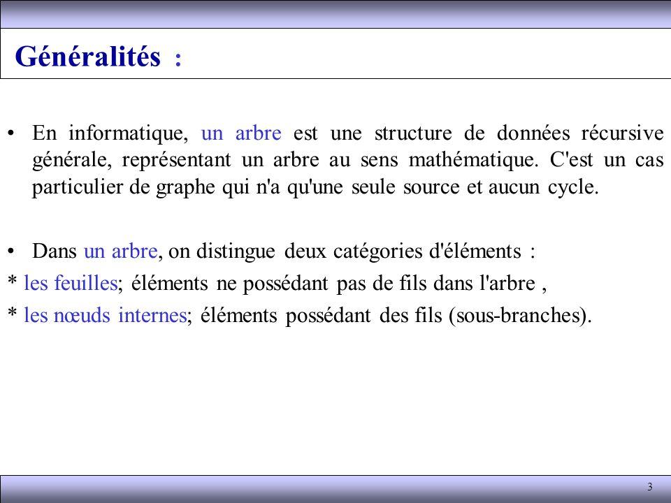 3 Généralités : En informatique, un arbre est une structure de données récursive générale, représentant un arbre au sens mathématique. C'est un cas pa