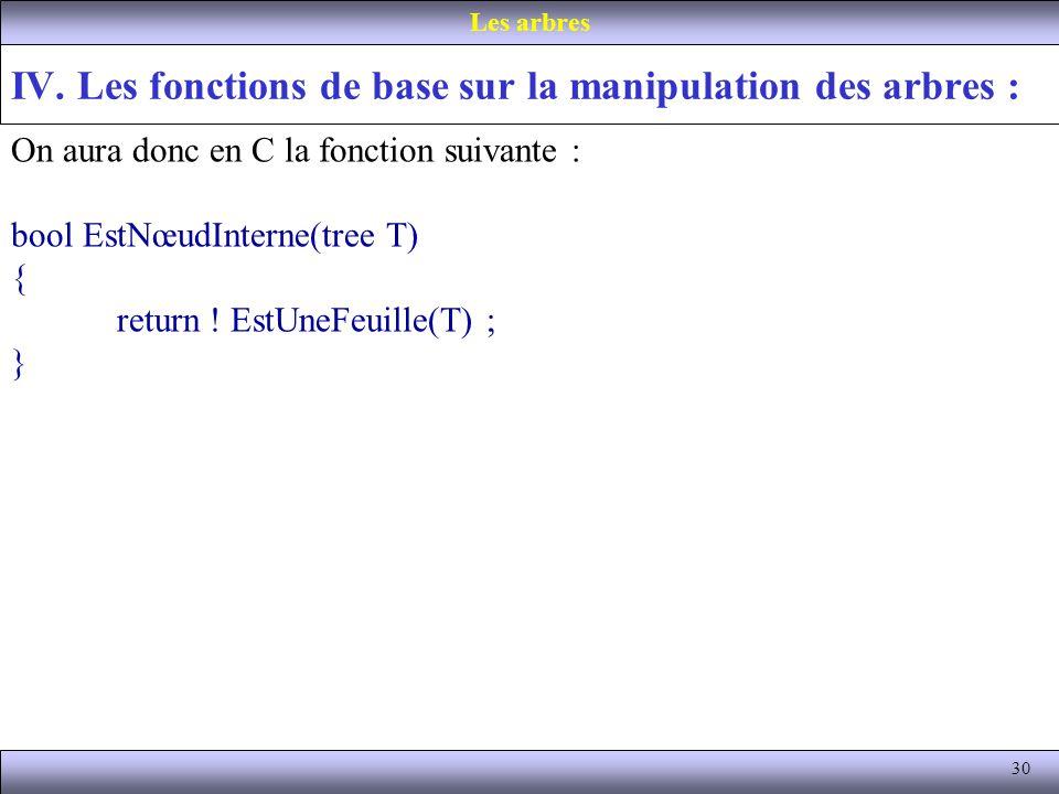 30 IV. Les fonctions de base sur la manipulation des arbres : Les arbres On aura donc en C la fonction suivante : bool EstNœudInterne(tree T) { return