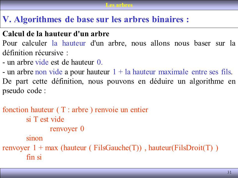 31 V. Algorithmes de base sur les arbres binaires : Les arbres Calcul de la hauteur d'un arbre Pour calculer la hauteur d'un arbre, nous allons nous b