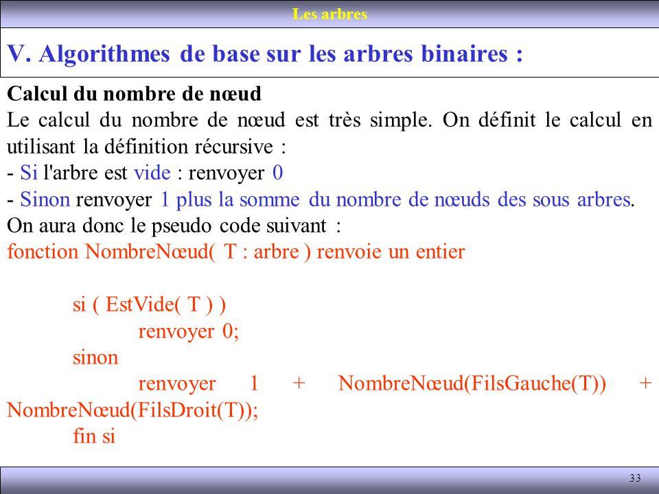 33 V. Algorithmes de base sur les arbres binaires : Les arbres Calcul du nombre de nœud Le calcul du nombre de nœud est très simple. On définit le cal