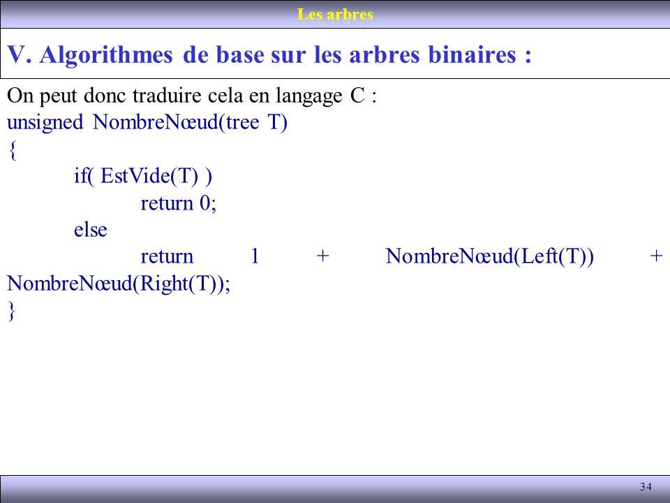 34 V. Algorithmes de base sur les arbres binaires : Les arbres On peut donc traduire cela en langage C : unsigned NombreNœud(tree T) { if( EstVide(T)