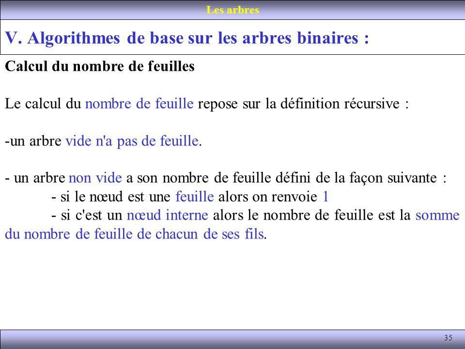 35 V. Algorithmes de base sur les arbres binaires : Les arbres Calcul du nombre de feuilles Le calcul du nombre de feuille repose sur la définition ré